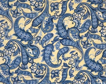 REMNANT------Blue and Yellow Classic Paisley Print Pure Cotton Fabric--21 INCHES