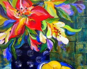 Tropical Original painting 16 x 20 Fine Art by Elaine Cory