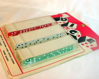Vintage Lucky Dice Store Counter Display Never Opened JAPAN 24 prs Red White Green on a Carded Display Game Night Super Kitsch