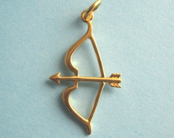 24K Gold Over Bronze Bow and Arrow Pendant