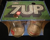 New Vintage 7UP Tumblers New In The Box Soda Glass Set Of Two 7UP Soda Retro Kitchen Pop Decor