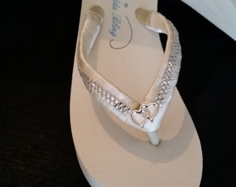SALE - Ivory Flip Flops with sparkling Rhinestone and Heart Design also White Flip Flops