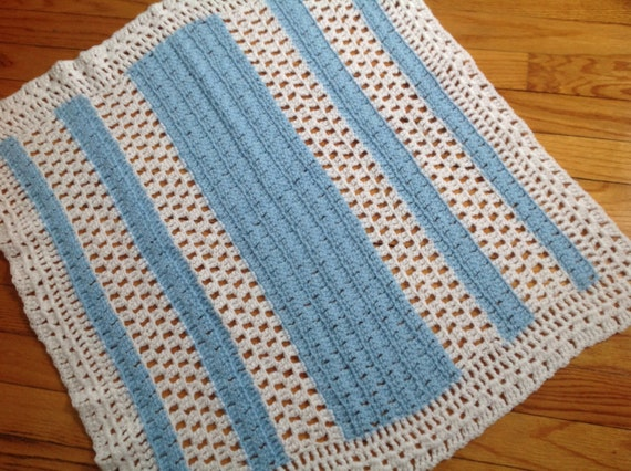 baby blanket afghan blue and white