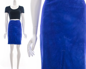 Vintage Bright Cobalt Blue HIGH WAIST PENCIL Skirt Front Slit Seam Wiggle Mad Men Medium Large