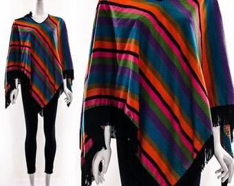 Rare Vintage 60s RAINBOW Black FRINGE CAPE Poncho Cloak Sophia Loren One of a Kind Hand Made One Size Fits Most