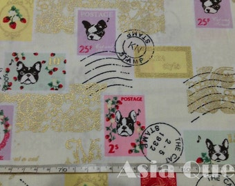 """Cotton fabric - Gold,French Bulldog,postage,stamp - 1 yard - 2 colors - dogs - sewing, Check out with code """"5YEAR"""" to save 20% off"""