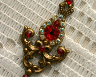 Light Crimson Delight Bindi in Oxidized Brass
