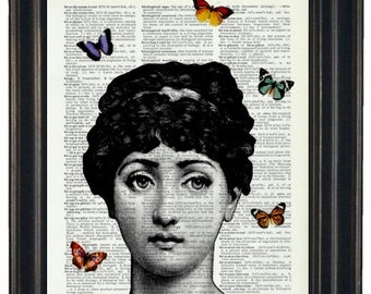 BOGO Sale Steampunk Dictionary Art Print with A HHP Original with HHP Signature Butterflies Wall Decor Dictionary Print Dictionary Prints