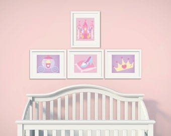 Princess | Set of 4 | Nursery Art | Wall Art | Nursery Decor | 5x7 | 8x10 | 11x14