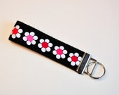 Key fob Keyfob wristlet  fabric Key chain lanyard white and pink flowers on black