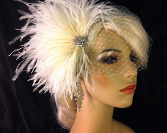 Bridal Feather Hair Clip, Bridal Fascinator, Bridal Headpiece, Gatsby Wedding, Bridal Veil