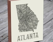 Atlanta - Atlanta Art - Atlanta Map - Atlanta Map Art- Wood Block Wall Art Print