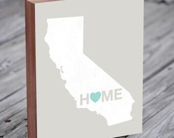 California Art, California Map, California Wall Art - State Art - State Prints - Wood Block Art Print