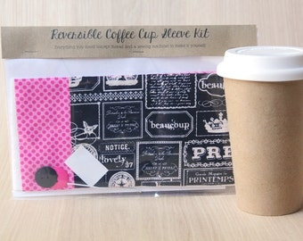 DIY Coffee Cup Sleeve Sewing Kit - Pretty Words and Pink Dots - Ready to Ship