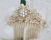 Gold Hair Comb, Wedding Hair Comb,Bridal Hair Comb,Wedding Hair Accessories,Bridesmaid Hair Comb, Bridal Jewelry, Vintage Inspired Hair Comb