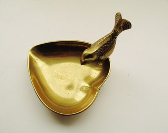 Brass Bird and Heart Catchall, Cottage Chic, Ring Holder, Vintage Change Holder