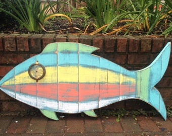 Fish Sign Tropical Wall Art Beach House Weathered Wood Decor by CastawaysHall