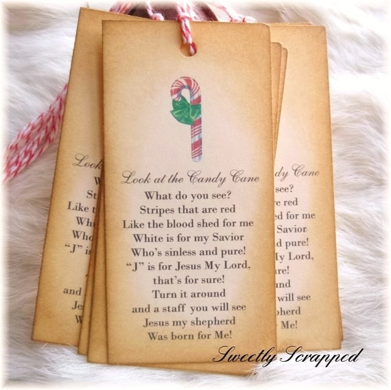 Legend of The Candy Cane Tags, Jesus, Religious, Holiday, Christmas, Labels, Packaging