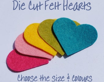 DIECUT FELT HEARTS - 50 Hearts - Choose From 68 Colours and 6 Sizes - Die Cut Felt Shapes