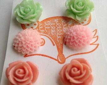 Flower Blossom Post Earring Set