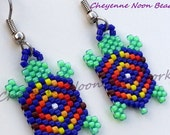 Native American Beaded Earrings - Brick Stitch - Turtles - Blue & Neon Green- Diamond
