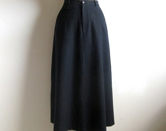 Vintage 1980s A-line Wool Skirt RALPH LAUREN Polo Dark Blue Wool  Skirt 10
