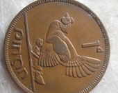 1949  Ireland, 1 Pingin Bronze Coin, Clairseach and Hen with Chicks