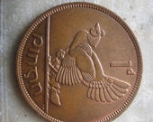 1 Pingin Bronze Coin - 1966 Ireland,   Clairseach and Hen with Chicks