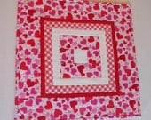 Valentine Hearts Quilted Table Topper, Valentine Quilted Table Runner, Valentine Table Quilt, Cottage Chic, Hearts, Red White Pink