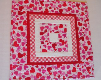Valentine Quilted Table Topper, Valentine Table Runner, Table Quilt, Cottage Chic, Hearts, Red White Pink