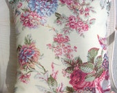Designer  Accent Pillow Cover, Laura Ashley Country Print, rose, blue and moss green on very pale yellow, 18 x 18 inches