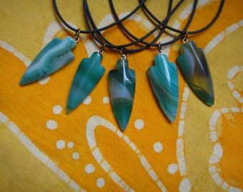 Carved Arrowhead Onyx Agate Pendant Necklace Hippie Boho Festival Mens Tribal Amulet