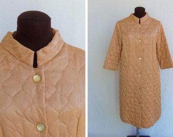 Vintage 60s Robe Gold Quilted Satin Oriental Print Size Small Medium S / M Like New