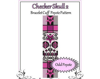 Bead Pattern Peyote(Bracelet Cuff)-Checker Skull 2