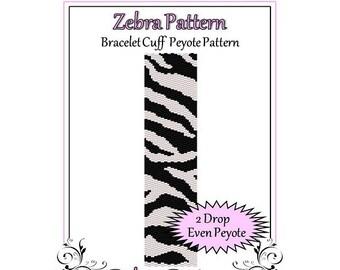 Bead Pattern Peyote(Bracelet Cuff)-Zebra Pattern