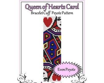 Bead Pattern Peyote(Bracelet Cuff)-Queen of Hearts Card