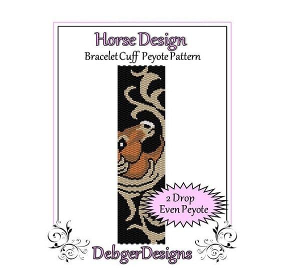 Bead Pattern Peyote(Bracelet Cuff)-Horse Design