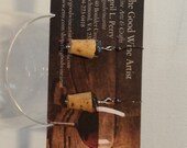 Wine Cork Earrings w/hematite beads