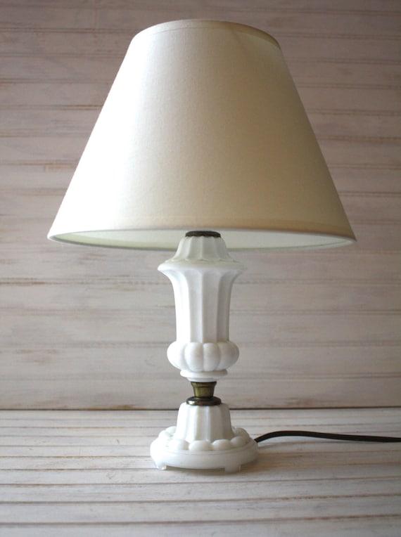 vintage milk glass table lamp white glass lamp mid century