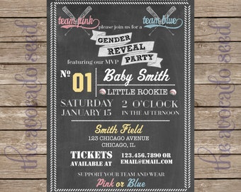 Baseball Softball Chalkboard Gender Reveal Invitation - DIY printing or Professional Prints