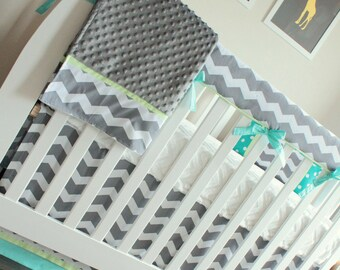 Charcoal Chevron blue and green Bumperless Crib Bedding Set