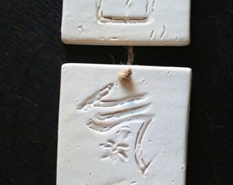 Aikido Kanji Hanging Tiles - shino glaze