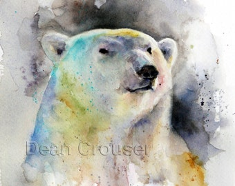 POLAR BEAR Watercolor Print by Dean Crouser