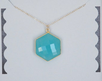 Handmade Necklace, Chalcedony Necklace, Gold filled, Geometric Necklace, 24K Hexagon Necklace, Bridesmaid Gift, Birthday Gift