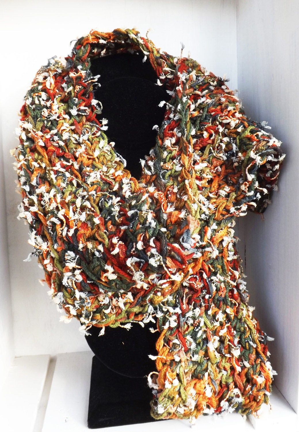 textured scarf unique scarf crocheted scarf autumn colors
