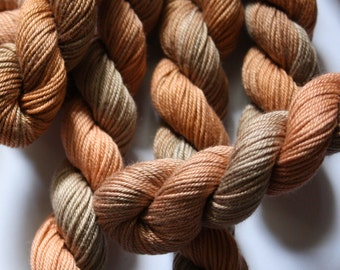 Hand Dyed Thread - Brodery Cotton Yarn - for Embroidery, Quilting, Braidmaking- Variegated Shades of Pale Brown - Skein Ref 5204
