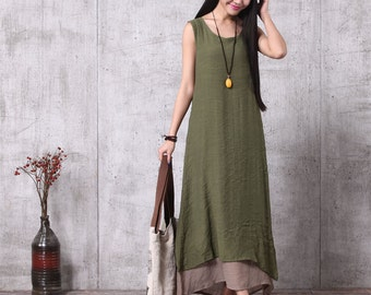 Loose Fitting Long Maxi Dress - Summer Dress in Green - Sleeveless Sundress for Women