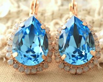 Aquamarine earrings White Opal light blue earrings Swarovski earrings Rose gold Dangle Drop earrings Bridal earrings Bridesmaids  jewelry