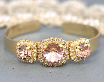Blush Pink Bridesmaids Swarovski Bracelet French Pink Bridal Bracelet Swarovski cuff Bracelet Bridesmaids Jewelry Set Bridesmaids Bracelet