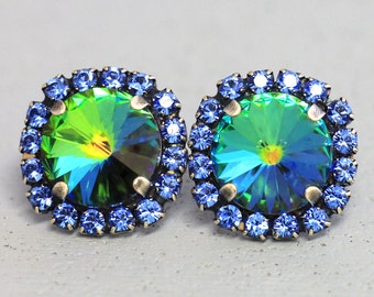Blue Sapphire Studs,Peacock Stud Earrings Rainbow Blue Peacock Capri Stud Earrings Swarovski Sapphire Earrings Gift For Woman,Blue Studs